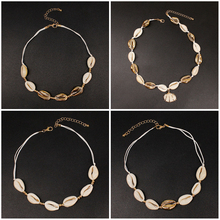 цена 4 Pcs/ Set Natural Shell Beach Rope Chain Necklace Gold Color Simple Adjustable Choker Necklace Shell Collares Jewelry в интернет-магазинах