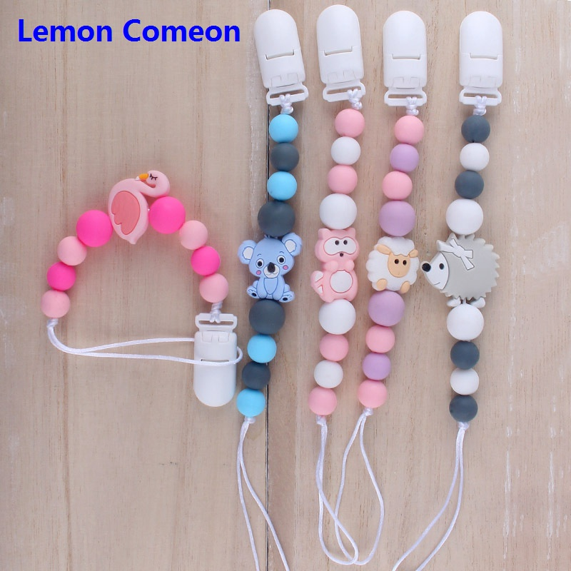 Lemon Comeon Baby Pacifier Clip Silicone Animal Beads BPA Free Toddle Soother Chain With Pacifier Teether Toy Infant Accessories