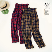 AcFirst Autumn Winter Women Fashion Yellow Red Long Loose Pants Cargo High Waist Female Soft Woolen Plaid Casual