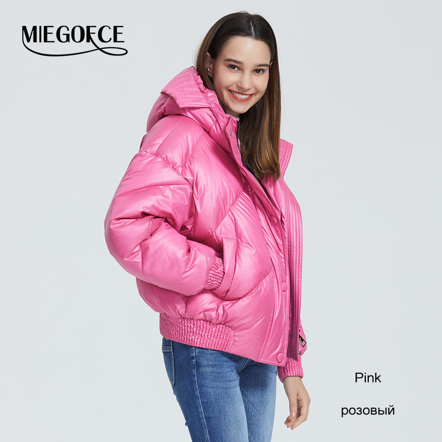 MIEGOFCE 2020 New Design Winter Coat Women's Jacket Insulated Cut Waist Length With Pockets Casual Parka Stand Collar Hooded 9