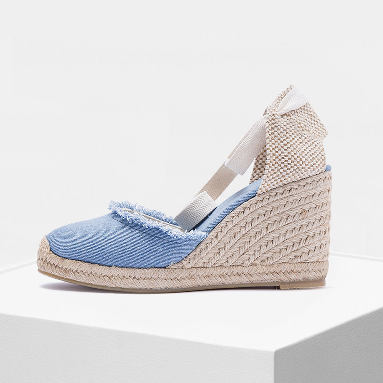 Women Canvas Wedge Espadrilles 2019 Sping And Summer 9cm Heel Height Frayed Women Shoes