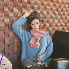 Women Sweater O-Neck Long Sleeve Solid Colour Womens Simple Elegant Loose Korean Style Pullover All-match Cute Trendy Chic