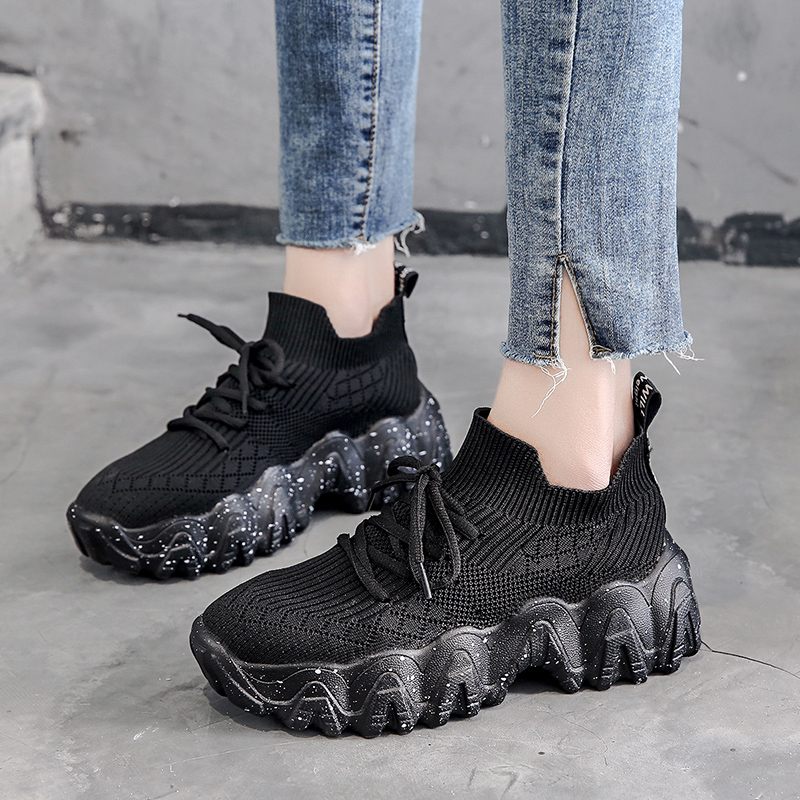 Women Dad Platform 5 CM Flying Woven Breathable Running Shoes  Female Harajuku Comfortable Sneakers Outdoor Sports Jogging Walk