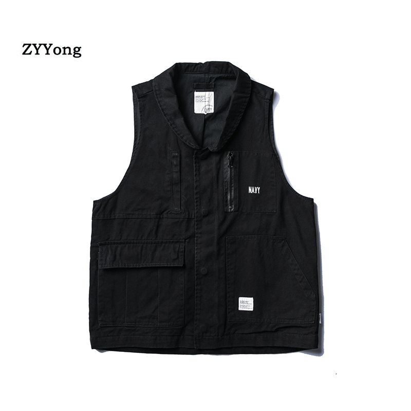 New Male Casual Summer Cotton Sleeveless Vest With Pockets Men Multi Pocket Photograph Waistcoat