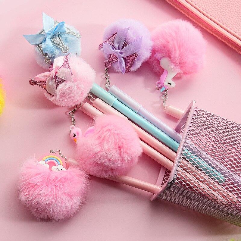Flamingo Unicorn Pig Rainbow Hairball Gel Pen Cute 0.5 Mm Black Ink Signature Pen School Office Writing Supplies