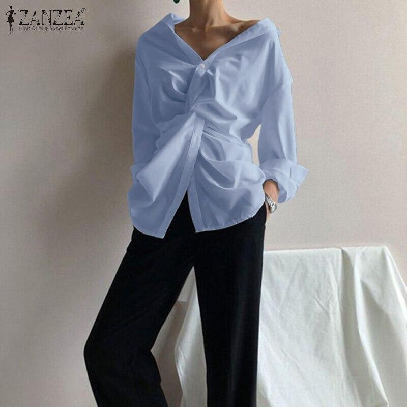 Summer Irregular Blouse ZANZEA 2020 Elegant Women's Tops Casual Long Sleeve Shirts Female Lapel Blusas Tops Oversized Tunic