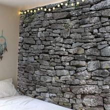 Cegła kamienna gobelin 3D retro dekoracyjne gobeliny ścienne akademik zagłówek dywan wiszące gobeliny ścienne koc zasłona domu tanie tanio CN (pochodzenie) 3D Stone AUBUSSON 1 pcs Pranie ręczne Można prać w pralce Tapestry wall hanging Drukuj PRINTED Zwykły