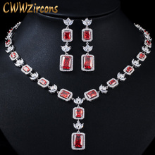 Jewelry-Sets Party-Necklace Costume-Accessories Brides Zirconia-Stone Wedding Cut Cubic