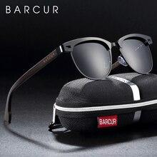 Barcur cat eye óculos de sol de madeira polarizados armação de aço inoxidável óculos de sol de madeira para homens