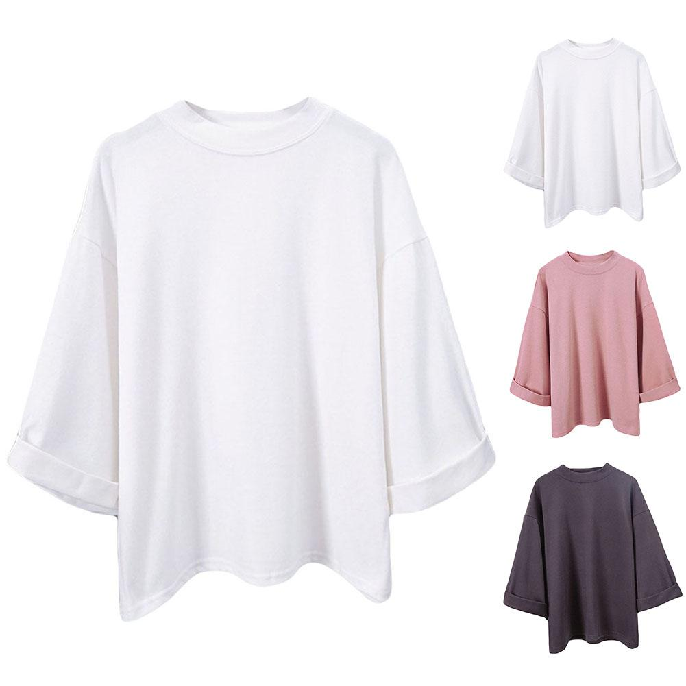 Fashion Cotton Women Solid Color 3/4 Sleeve Round Neck T-Shirt Casual Loose Top