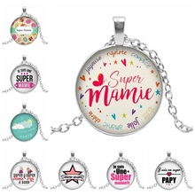 Hot! New Hot Super Mamie Round Pattern Glass Pendant Cabochon Gem Papy Dome Charm Cameo Necklace