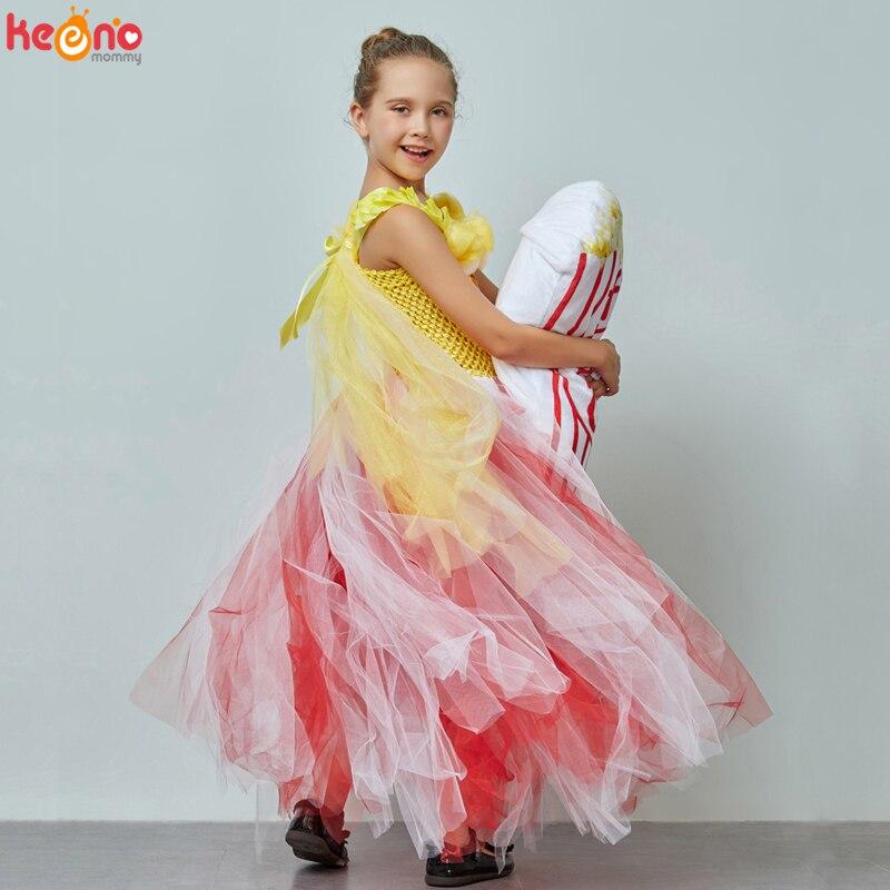 Circus Popcorn Girl Tutu Dress Carnival Birthday Party Wedding Flower Sequin Ball Gown Costume Kids Pop Corn Food Tulle Dress 4