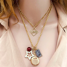 Bohemian Flower Multi Layer Necklaces For Women Gold Coin Stone Bead Choker Pendant Necklace 2020 Ethnic Female Jewelry flower bead teardrop choker necklace