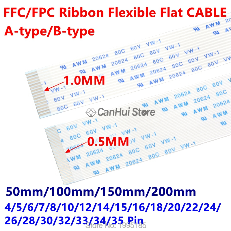 10PC FFC/FPC Ribbon Flexible <font><b>Flat</b></font> <font><b>CABLE</b></font> 1.0MM <font><b>50</b></font>/100150/200MM A B type 4P 6 7 8 10 12 14 16 18 20 22 24 26 28 30 32 33 34 35 <font><b>Pin</b></font> image