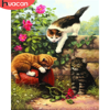 HUACAN Frameless Animals Cats DIY Painting By Numbers Kits Wall Art Picture Canvas Paint Unique Gift Home Decor