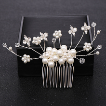 Trendy Wedding Hair Comb Silver Color Pearl Pearl Headdress Princess Hair Accessories Bridal Tiaras Hair Jewelry Accessories great gatsby daisy crystals pearl tassels silver wedding bridal pearl tiaras and crowns wedding party hair hoop headbands