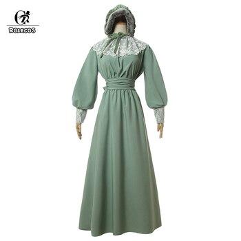 ROLECOS Women Medieval Renaissance Retro Dress Green Dense Chiffon Long Soft Evening Dresses Halloween Dress With Hat Handguard 1