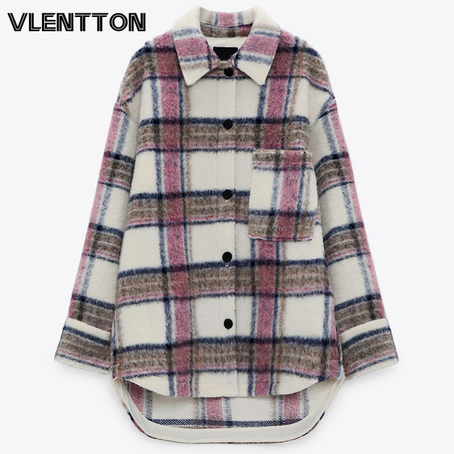 New Autumn Winter Women Vintage Plaid Shirt Jacket Casual Pockets Thick Outwear Tops Loose Warm Coat Female Chaqueta Mujer 1
