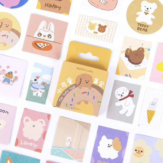 46pcs/box The Cutie Fest Collect Bullet Journal Decorative Stationery Mini Stickers Set Scrapbooking DIY Diary Album Stick Lable