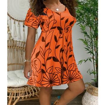 2020 New Summer Dresses Women Casual Short Sleeve O-Neck Print A-line Dress Large Size Streetwear Sundress Loose Dress Vestidos - Myh006 Orange, XXXL