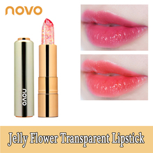 NOVO Jelly Flower Gold foil Transparent Nude Lipstick Waterproof Long Lasting Ma