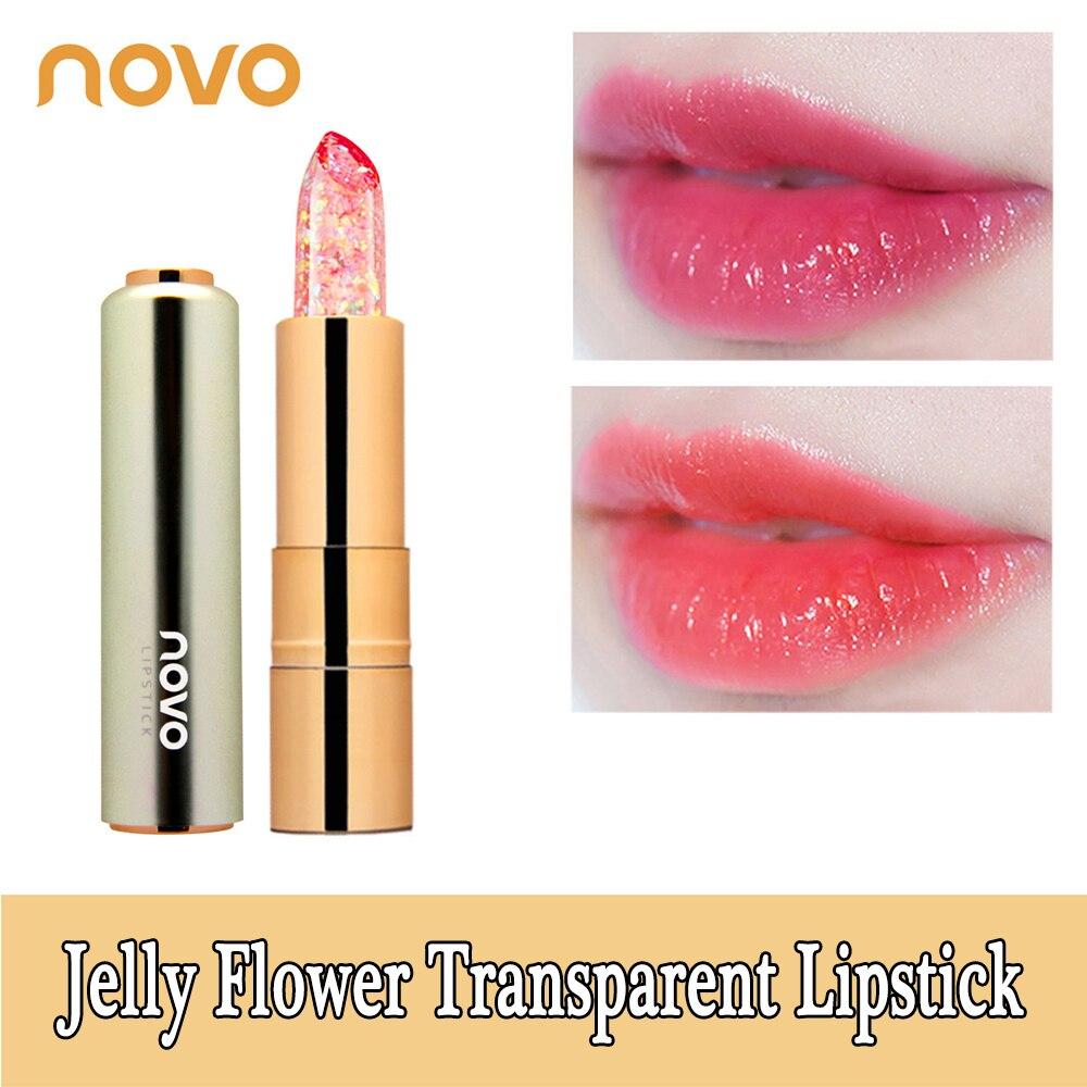 Novo jelly flor folha de ouro transparente batom nude à prova dwaterproof água longa duração maquiagem hidratante brilho labial compõem a beleza feminina