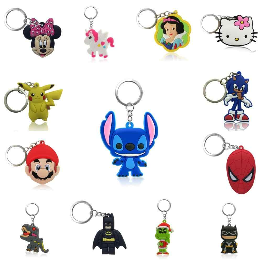 1pc Cute Cartoon Figures Keychain Key Ring Gift For Women Girls Bag Pendant PVC Figure Charms Key Chains Jewelry porte clef