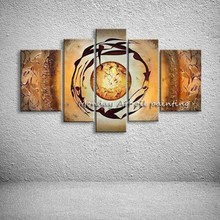 Wall art Hand painted Knife Sun Moon Dancing painting Art picture Home Decor Landscape Dancer Oil Painting Canvas