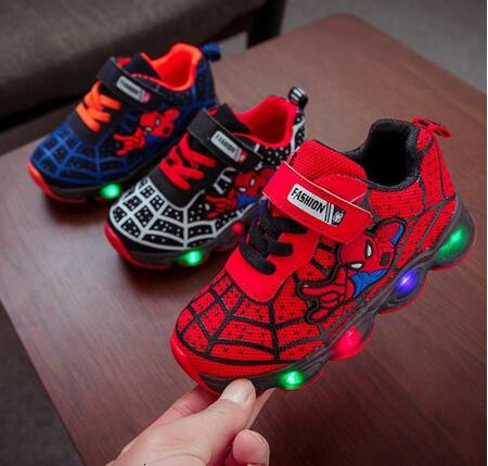 2020 New Spider-Man Children's Laces Lightweight Laces Children's Boys Led Shoes Sneakers Glowing Basketball Unisex