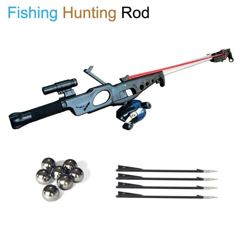 Slingshot Hunting Bow Powerful Catapult Gun Rifle Fishing Reel Multi-function Steel Ball Ammo Arrow Shooting Sightscope Crossbow