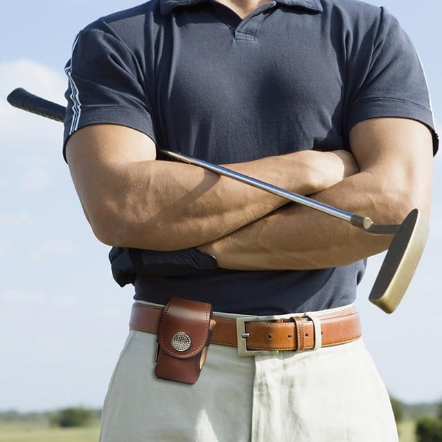 Outdoor Golf Ball Leather Bags Mini Pocket Golf Bag Holder with 2 Balls 3 Tees 1 Golf Divot Repair Tool Set Golf Equipment 4