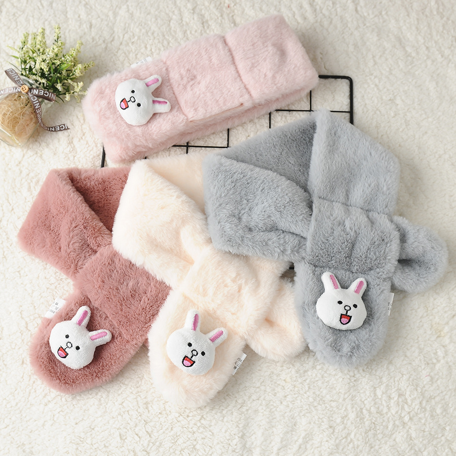 Autumn And Winter Versatile New Style Cartoon Little Bunny Faux Rabbit Fur Autumn And Winter CHILDREN'S Scarf Warm Thick Cross S
