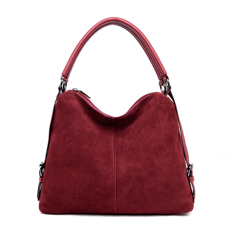 Casual Women's Suede Leather Shoulder Bag Large-capacity Design Multi-function Handbag Classical Suede Ladies Crescent Package