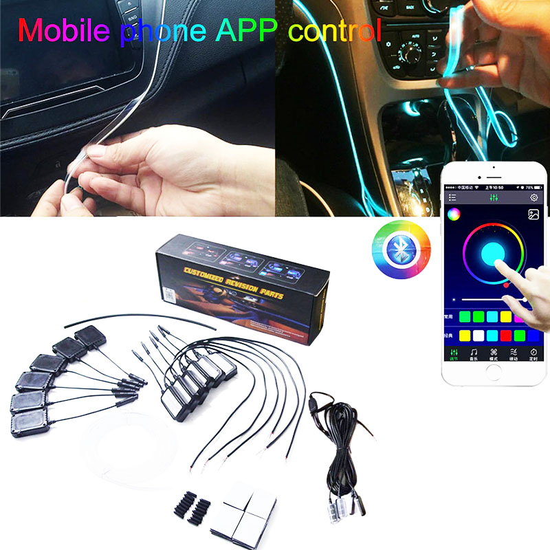 6 Meter RGB Fiber Optic Atmosphere Lamps App Control 64Color NO Threading Decorative Dashboard Door With Foot Light Car Interior