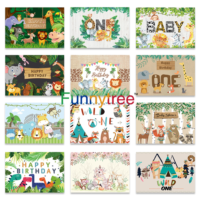 FUERMOR Lets Get Wild Party Backdrop Safari Animals Baby Shower Party Photography Backdrop Cartoon Forest Animal Background Photo Booth Banner Decor 7x5ft BJDSFU128