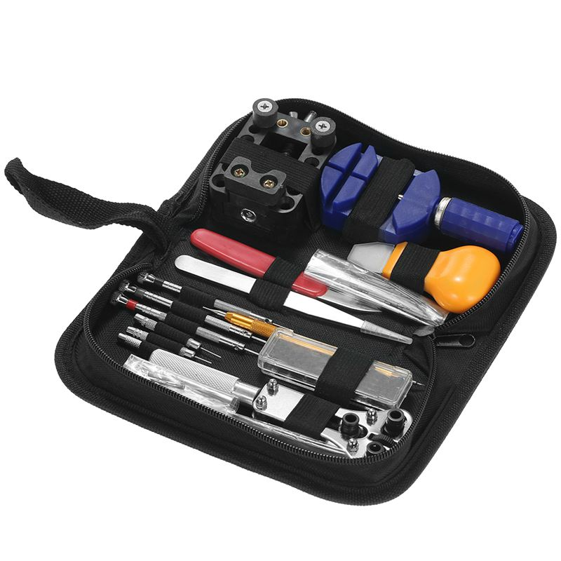 146PCS Professional Watch Repair Tool Kit Watchmaker Case Opener Link Remover Spring Bar Set Carry Bag