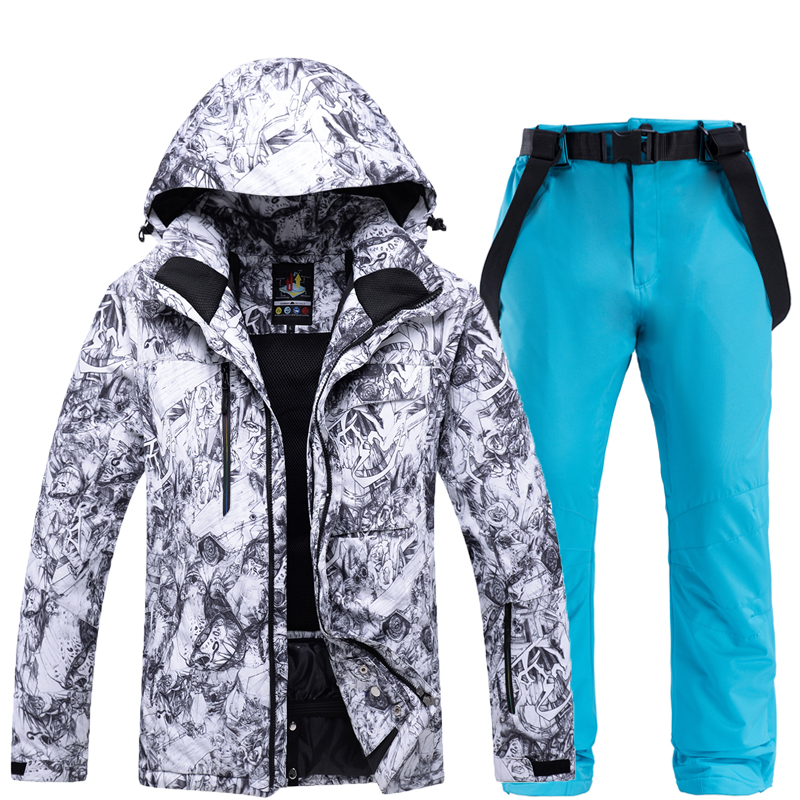 Men Ski Suit Thickening Super Warm Jackets Snow Pants Suit Male Snowboarding Clothes Sets -30 Degree Skiing Jackets Pants Winter