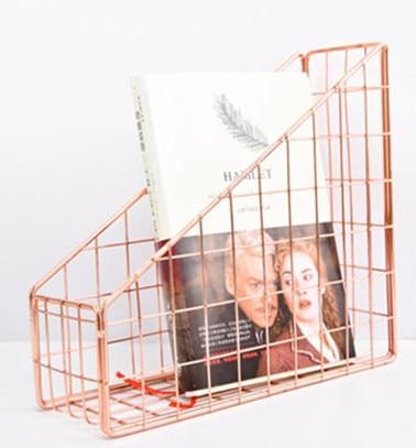Розовое золото, железный держатель для книг с гальваническим покрытием, настольная полка, коробка для файлов, журнал, подставка для книг, офисная, домашняя, канцелярская, органайзер, держатель - Цвет: Rose Gold