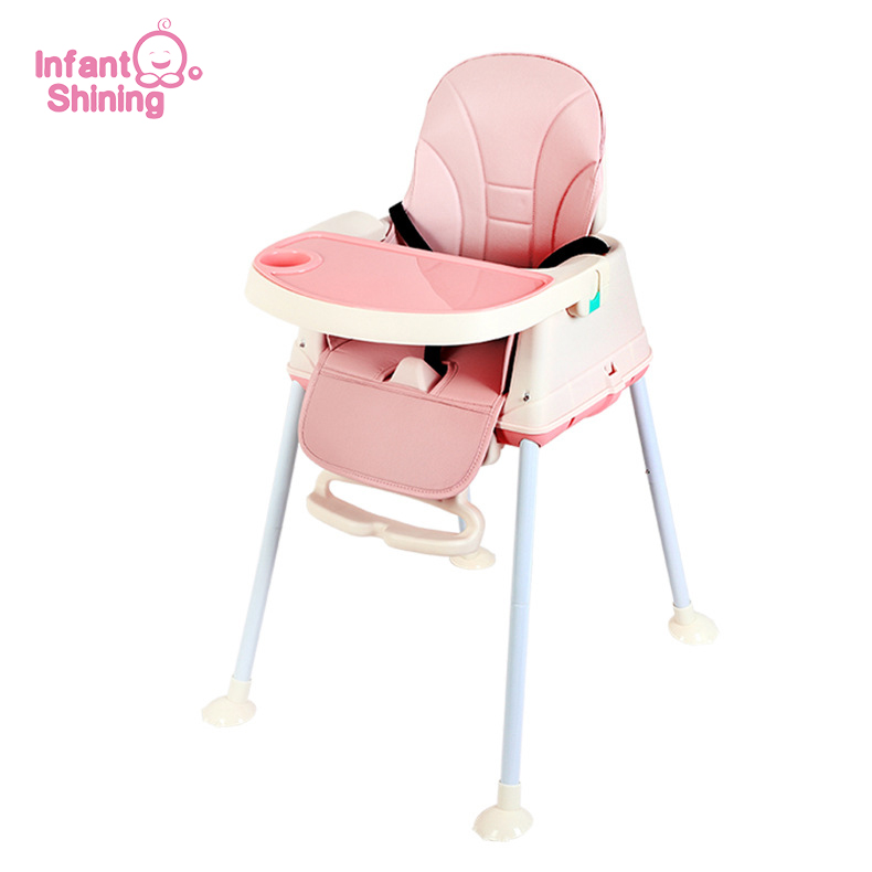 Infant Shining Highchair Dining Chair Feeding Chair Booster Seat With Wheel Feeding Seat Foldable Portable Soft PU Height-adjust