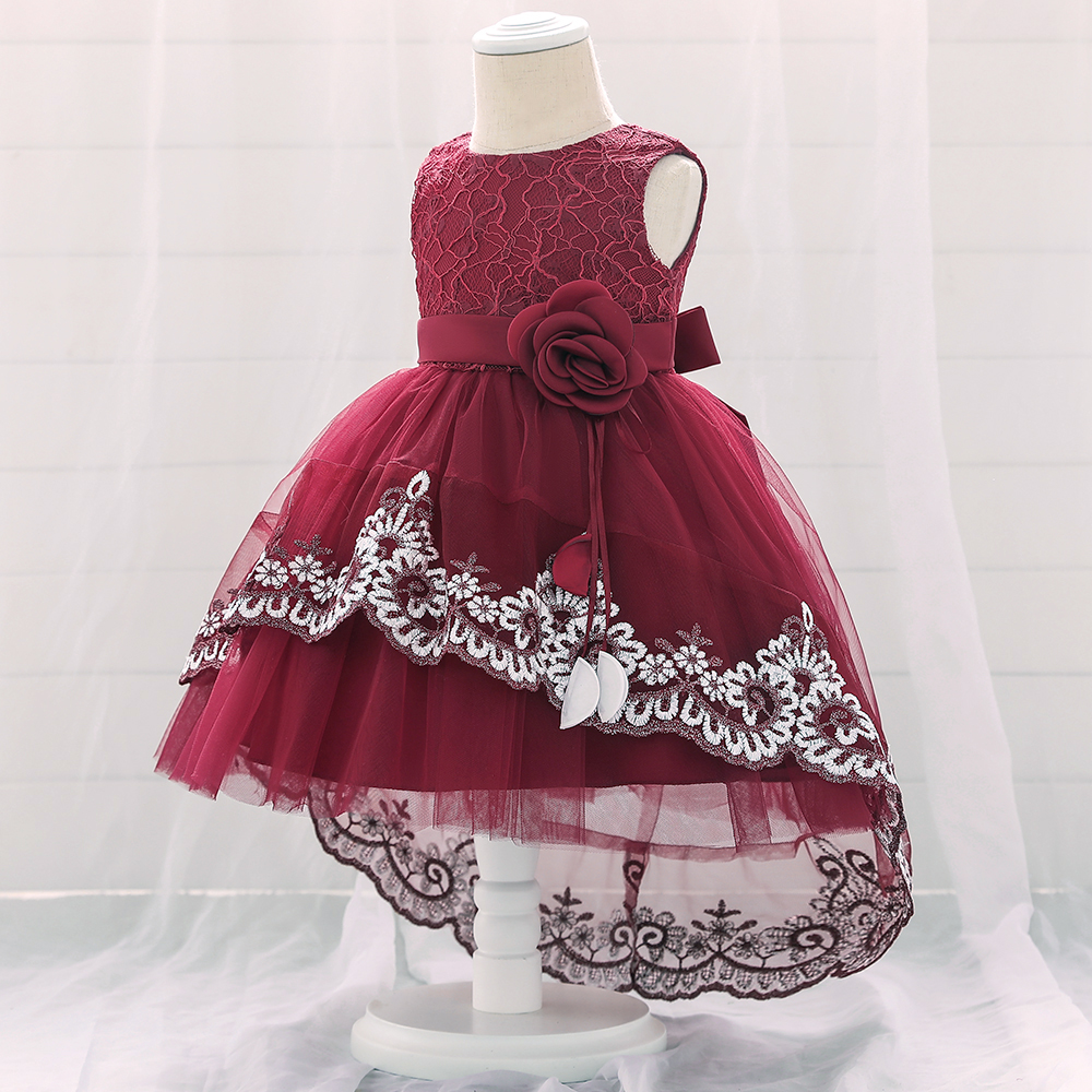 Baby Girls Long Christening Gowns Baptism Special Occasion Flower Dress Kids Princess Lace Embroidery Toddler Infant First Communion Wedding Birthday Party Special Occasion Evening Dresses Ivory Red
