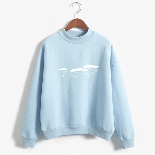 Winter Pullover Sweatshirts Women 2020 Women Fashion Long Sleeve Cloud Rain Printed Sweatshirt Blouse Tops T -Shirt
