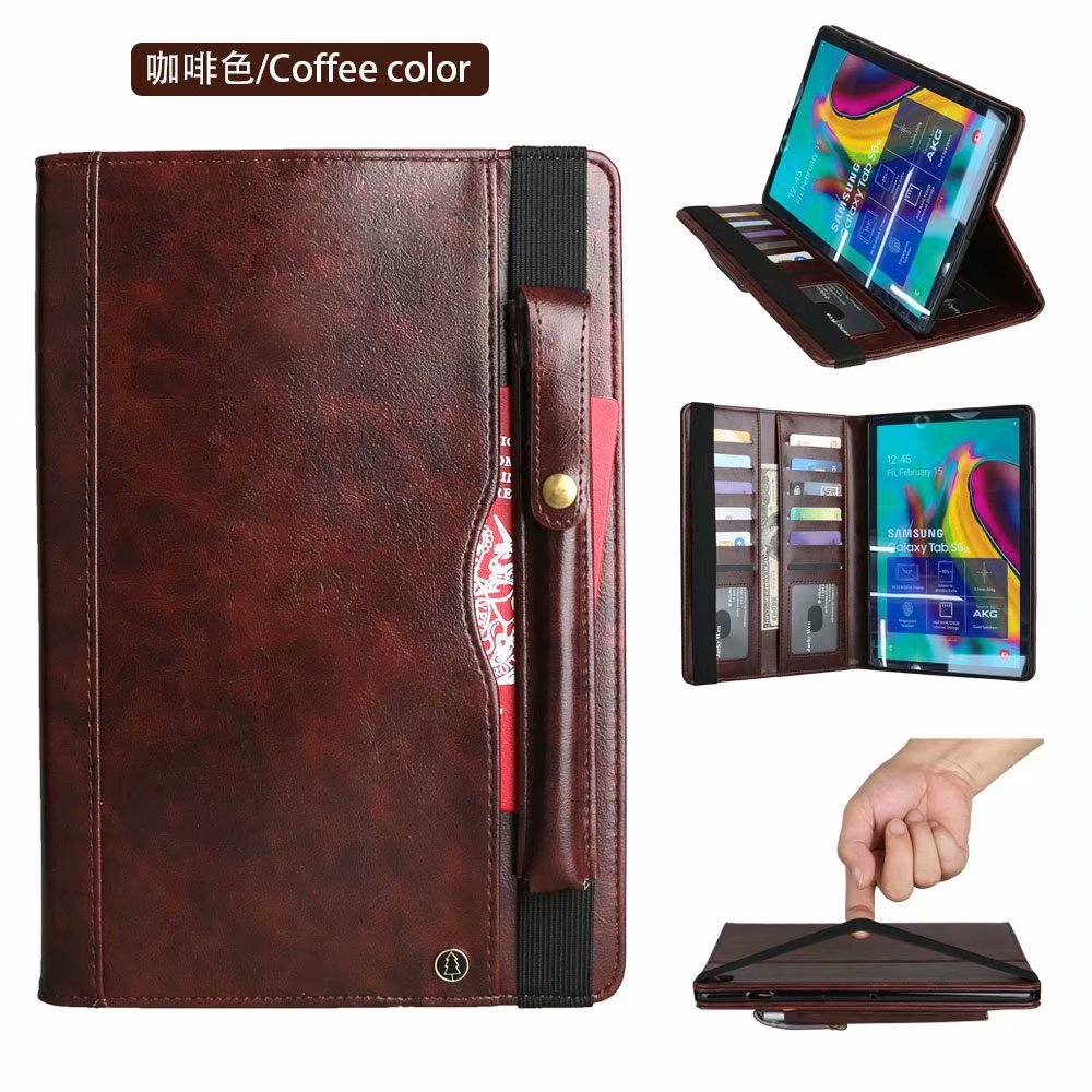 Business Affairs Leather With Pencil Tablet Case For Samsung Galaxy Tab S5e T720 T725 SM-T720 SM-T725 10.5 Inch 2019 Premium Flip Cover Holder Wallet+Pen