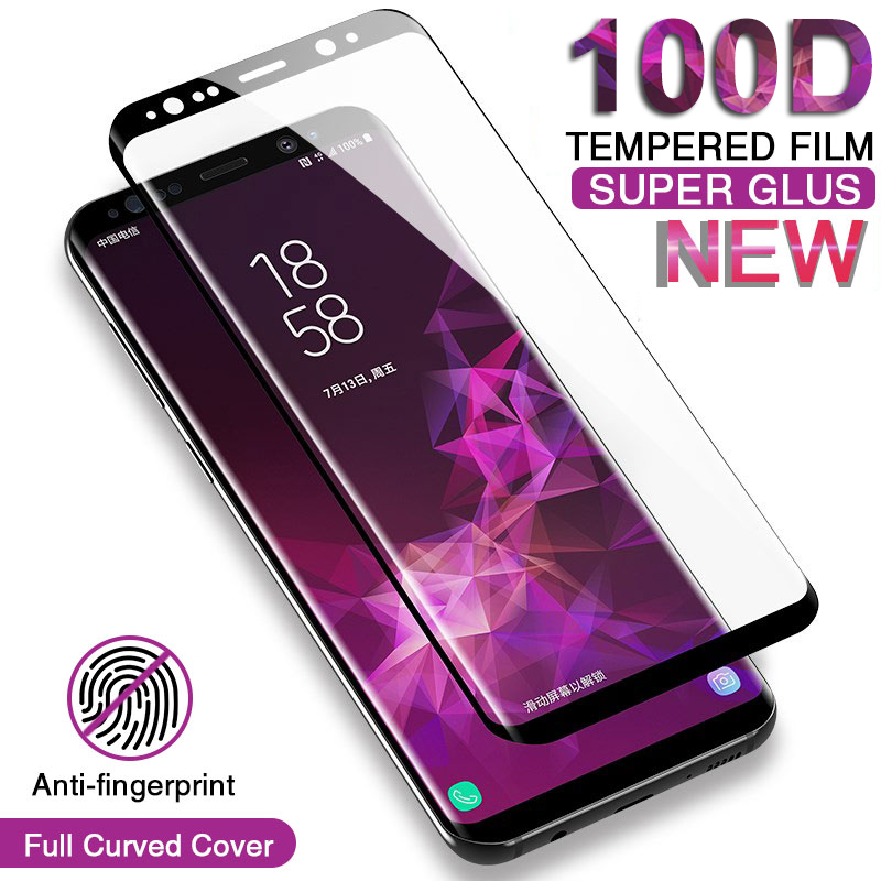 100D Curved Cover Tempered Glass On For Samsung Galaxy S9 S8 Note 8 9 S7 S6 Edge S8 S9 Plus Screen Protective Glass Film Case