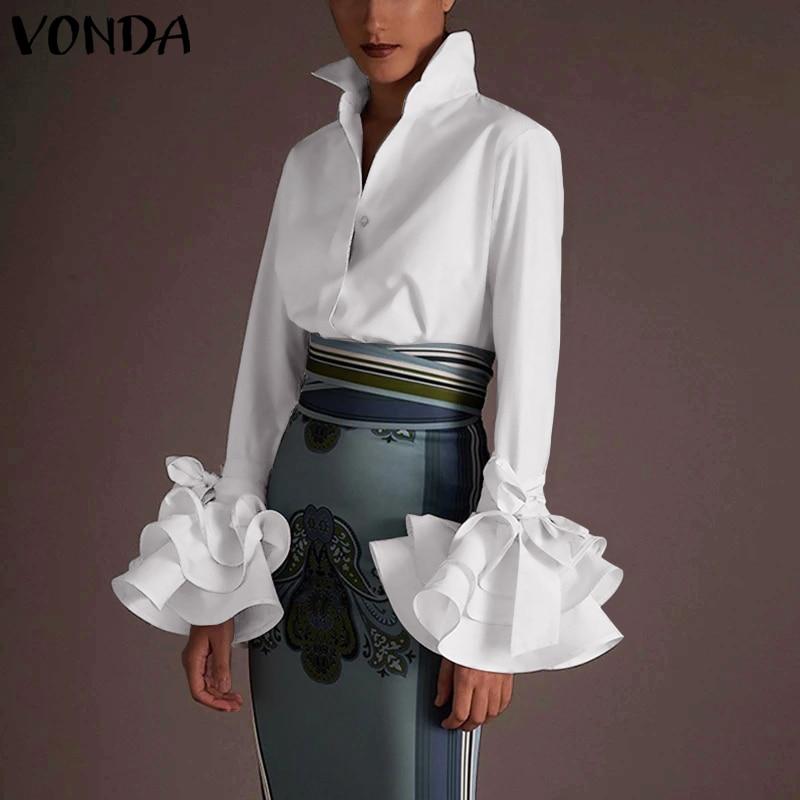 Новые женские рубашки VONDA 2021 сезон: весна-лето пикантные отложной воротник с расклешенными рукавами вечерние топы офисная рубашка повседне...