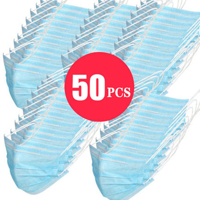Top Quality Disposable Mask 50 Pcs 100Pcs 3 Layer PM2.5 Filter Nonwoven Breathable Anti Pollution Flu Hygiene Face Mouth Masks