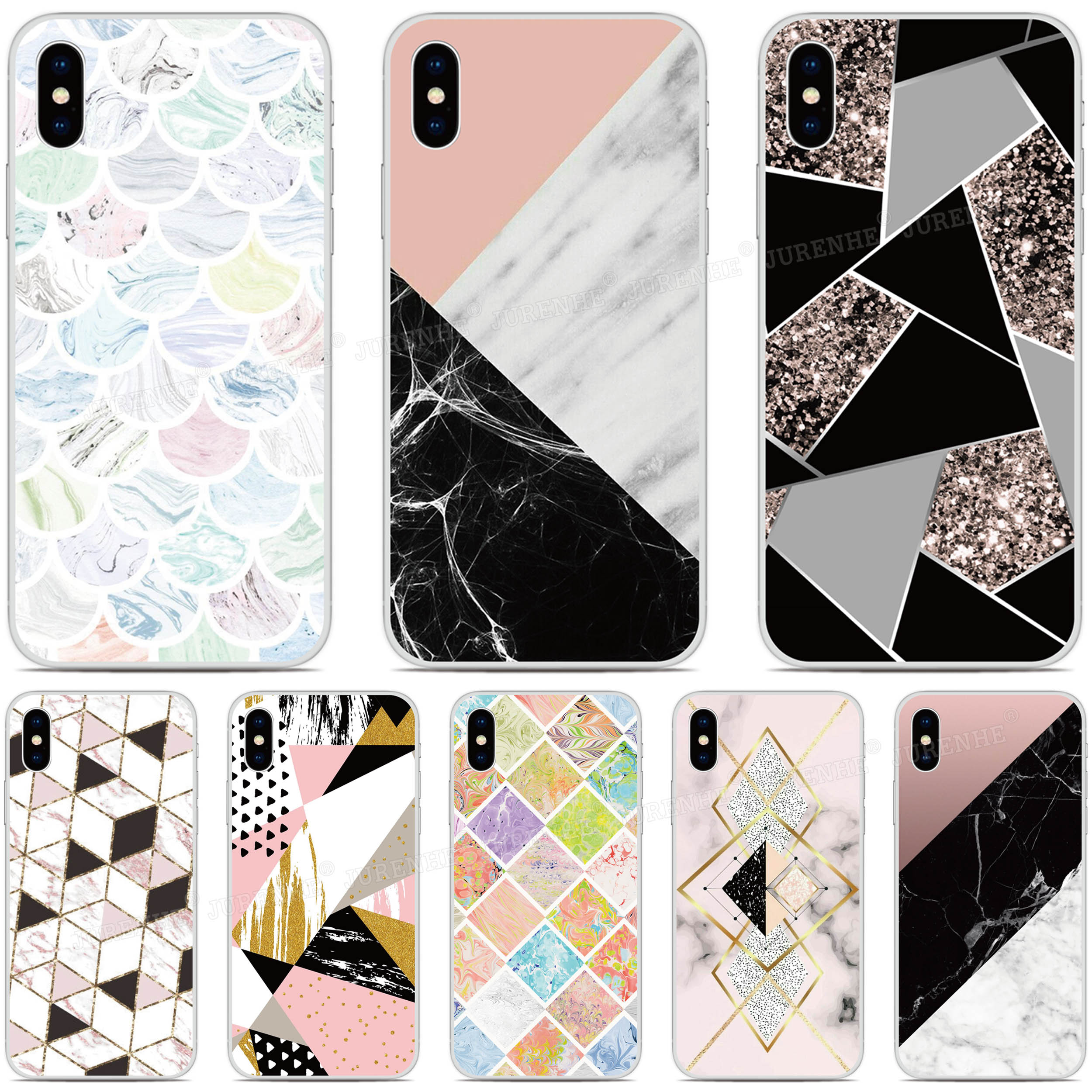 Soft Silicone Geometric Marble <font><b>Cover</b></font> Cases For <font><b>Oukitel</b></font> C18 K6000 C17 C16 <font><b>C15</b></font> C13 C12 U25 <font><b>Pro</b></font> K9 K3 U22 U20 Plus Y4800 Phone Case image