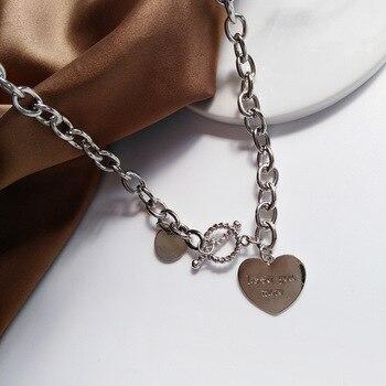 Collar de placa de identificación con forma de corazón, cadena de eslabones...