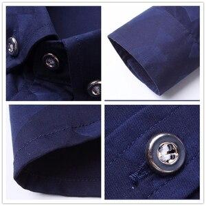 Image 5 - Hot Sale New Fashion Casual Men Shirt Long Sleeve Jacquard Weave Slim Fit Shirt Men Cotton Mens Dress Shirts Men Clothes 5XL