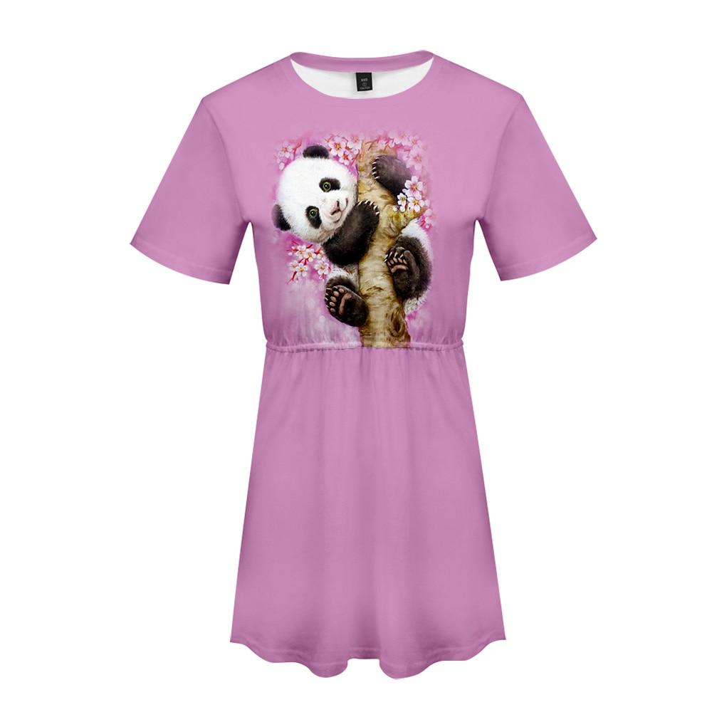 2020 Funny Panda 3D Printed Women Dress Fashion Summer Short Sleeve Dresses Girls Casual Trendy Style Streetwear Animal Clothes