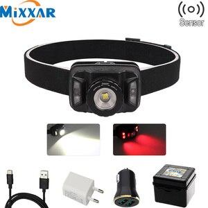 ZK20 дропшиппинг ИК сенсор налобный фонарь светодиодный 6 режимов Водонепроницаемая фара USB перезаряжаемая Встроенная батарея для кемпинга Г...